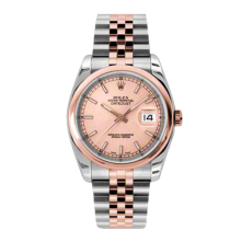 Rolex Mens 18K Two Tone Rose Gold Datejust -Pink Champagne Index Dial - Domed/ Smooth Bezel - Jubilee Bracelet 36 MM 116201