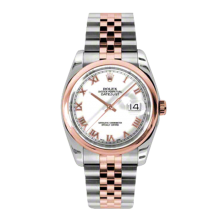 Rolex Mens 18K Two Tone Rose Gold Datejust - White Roman Dial - Domed/ Smooth Bezel - Jubilee Bracelet 36 MM 116201