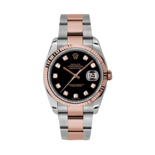 Rolex Mens 18K Two Tone Rose Gold Datejust - Black Diamond Dial - Fluted Bezel - Oyster Bracelet 36 MM 116231