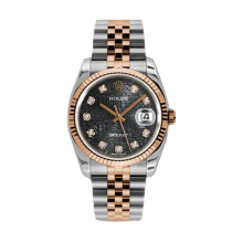 Rolex Mens 18K Two Tone Rose Gold Datejust - Black Jubilee Diamond Dial - 18K Fluted Bezel - Jubilee Bracelet 36 MM 116231