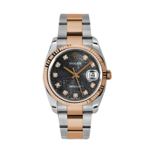 Rolex Mens 18K Two Tone Rose Gold Datejust - Black Jubilee Diamond Dial - Fluted Bezel - Oyster Bracelet 36 MM 116231