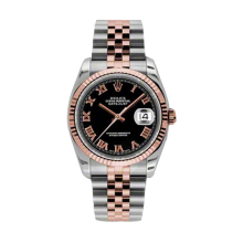 Rolex Mens 18K Two Tone Rose Gold Datejust - Black Roman Dial - 18K Fluted Bezel - Jubilee Bracelet 36 MM 116231