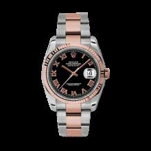 Rolex Mens 18K Two Tone Rose Gold Datejust - Black Roman Dial - Fluted Bezel - Oyster Bracelet 36 MM 116231