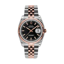 Rolex Mens 18K Two Tone Rose Gold Datejust - Black Index Dial - 18K Fluted Bezel - Jubilee Bracelet 36 MM 116231