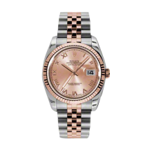 Rolex Mens 18K Two Tone Rose Gold Datejust -Pink Champagne Roman Dial - 18K Fluted Bezel - Jubilee Bracelet 36 MM 116231
