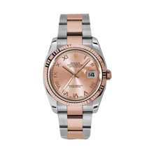 Rolex Mens 18K Two Tone Rose Gold Datejust -Pink Champagne Roman Dial - Fluted Bezel - Oyster Bracelet 36 MM 116231