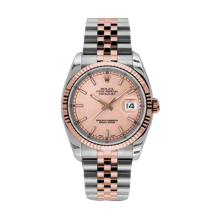 Rolex Mens 18K Two Tone Rose Gold Datejust -Pink Champagne Index Dial - 18K Fluted Bezel - Jubilee Bracelet 36 MM 116231
