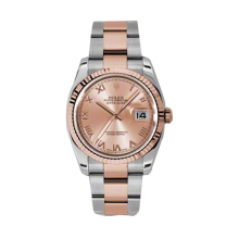 Rolex Mens 18K Two Tone Rose Gold Datejust -Pink Champagne Index Dial - Fluted Bezel - Oyster Bracelet 36 MM 116231