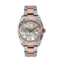 Rolex Mens 18K Two Tone Rose Gold Datejust -Pink Champagne Dark Mother of Pearl Diamond Dial - 18K Fluted Bezel - Oyster Bracelet 36 MM 116231