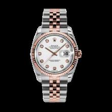 Rolex Mens 18K Two Tone Rose Gold Datejust - White Diamond Dial - 18K Fluted Bezel - Jubilee Bracelet 36 MM 116231