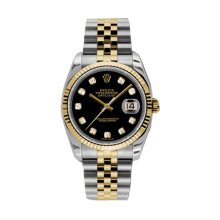 Rolex Mens 18K Two Tone Yellow Gold Datejust - Black Diamond Dial - 18K Fluted Bezel - Jubilee Bracelet 36 MM 116233