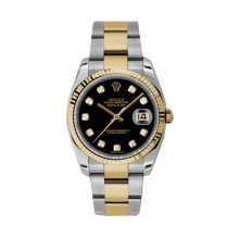 Rolex Mens 18K Two Tone Yellow Gold Datejust - Black Diamond Dial - 18K Fluted Bezel - Oyster Bracelet 36 MM 116233