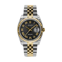 Rolex Mens 18K Two Tone Yellow Gold Datejust - Black Jubilee Roman Dial - 18K Fluted Bezel - Jubilee Bracelet 36 MM 116233