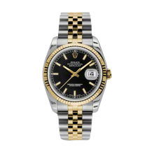 Rolex Mens 18K Two Tone Yellow Gold Datejust - Black Index Dial - 18K Fluted Bezel - Jubilee Bracelet 36 MM 116233
