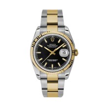 Rolex Mens 18K Two Tone Yellow Gold Datejust - Black Index Dial - 18K Fluted Bezel - Oyster Bracelet 36 MM 116233