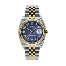 Rolex Mens 18K Two Tone Yellow Gold Datejust - Blue Concentric Arabic Dial - 18K Fluted Bezel - Jubilee Bracelet 36 MM 116233