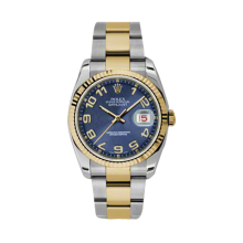 Rolex Mens 18K Two Tone Yellow Gold Datejust - Blue Concentric Arabic Dial - 18K Fluted Bezel - Oyster Bracelet 36 MM 116233