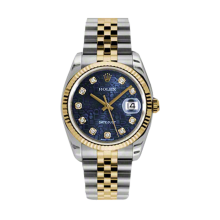 Rolex Mens 18K Two Tone Yellow Gold Datejust - Blue Jubilee Diamond Dial - 18K Fluted Bezel - Jubilee Bracelet 36 MM 116233