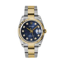 Rolex Mens 18K Two Tone Yellow Gold Datejust - Blue Jubilee Diamond Dial - 18K Fluted Bezel - Oyster Bracelet 36 MM 116233