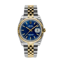 Rolex Mens 18K Two Tone Yellow Gold Datejust - Blue Index Dial - 18K Fluted Bezel - Jubilee Bracelet 36 MM 116233