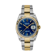 Rolex Mens 18K Two Tone Yellow Gold Datejust - Blue Index Dial - 18K Fluted Bezel - Oyster Bracelet 36 MM 116233