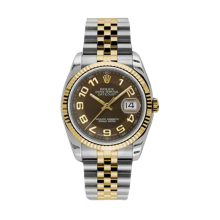 Rolex Mens 18K Two Tone Yellow Gold Datejust - Brown Arabic Dial - 18K Fluted Bezel - Jubilee Bracelet 36 MM 116233
