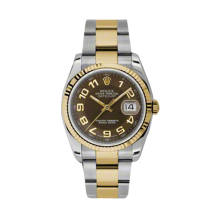 Rolex Mens 18K Two Tone Yellow Gold Datejust - Brown Arabic Dial - 18K Fluted Bezel - Oyster Bracelet 36 MM 116233