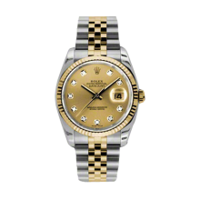 Rolex Mens 18K Two Tone Yellow Gold Datejust - Champagne Diamond Dial - 18K Fluted Bezel - Jubilee Bracelet 36 MM 116233
