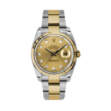 Rolex Mens 18K Two Tone Yellow Gold Datejust - Champagne Diamond Dial - 18K Fluted Bezel - Oyster Bracelet 36 MM 116233