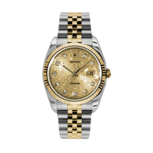 Rolex Mens 18K Two Tone Yellow Gold Datejust - Champagne Jubilee Diamond Dial - 18K Fluted Bezel - Jubilee Bracelet 36 MM 116233