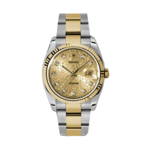 Rolex Mens 18K Two Tone Yellow Gold Datejust - Champagne Jubilee Diamond Dial - 18K Fluted Bezel - Oyster Bracelet 36 MM 116233