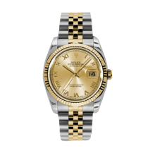 Rolex Mens 18K Two Tone Yellow Gold Datejust - Champagne Roman Dial - 18K Fluted Bezel - Jubilee Bracelet 36 MM 116233