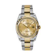 Rolex Mens 18K Two Tone Yellow Gold Datejust - Champagne Roman Dial - 18K Fluted Bezel - Oyster Bracelet 36 MM 116233