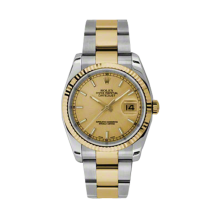 Rolex Mens 18K Two Tone Yellow Gold Datejust - Champagne Index Dial - 18K Fluted Bezel - Oyster Bracelet 36 MM 116233