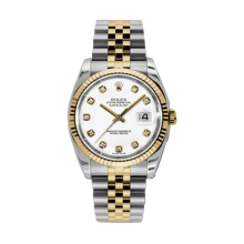 Rolex Mens 18K Two Tone Yellow Gold Datejust - White Diamond Dial - 18K Fluted Bezel - Jubilee Bracelet 36 MM 116233