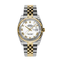 Rolex Mens 18K Two Tone Yellow Gold Datejust - White Roman Dial - 18K Fluted Bezel - Jubilee Bracelet 36 MM 116233