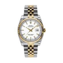 Rolex Mens 18K Two Tone Yellow Gold Datejust - White Index Dial - 18K Fluted Bezel - Jubilee Bracelet 36 MM 116233