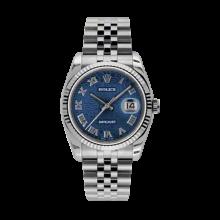 Rolex Mens Datejust - Stainless Steel Blue Jubilee Roman Dial - 18K Fluted Bezel - Jubilee Bracelet 36 MM 116234