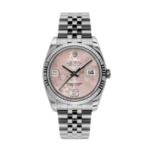 Rolex Mens Datejust - Stainless Steel Pink Floral Arabic Dial - 18K Fluted Bezel - Jubilee Bracelet 36 MM 116234