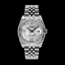 Rolex Mens Datejust - Stainless Steel Silver Floral Arabic Dial - 18K Fluted Bezel - Jubilee Bracelet 36 MM 116234