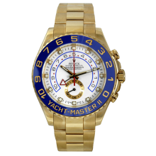 Rolex Mens Yellow Gold Yacht-Master II - 18K Yellow Gold With A White Dial 116688 44MM Model