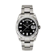 Rolex Men's White Gold Day-Date - President Black Diamond Dial - 18K Fluted Bezel - Oyster Bracelet 36 MM 118239