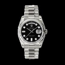 Rolex Men's White Gold Day-Date - President Black Diamond Dial - 18K Fluted Bezel - Presidential Bracelet 36 MM 118239