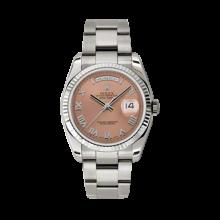 Rolex Men's White Gold Day-Date - President Copper Roman Dial - 18K Fluted Bezel - Oyster Bracelet 36 MM 118239