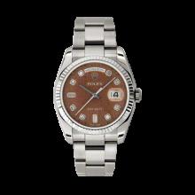 Rolex Men's White Gold Day-Date - President Havanna Brown Jubilee Diamond Dial - 18K Fluted Bezel - Oyster Bracelet 36 MM 118239