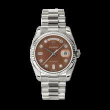 Rolex Men's White Gold Day-Date - President Havanna Brown Jubilee Diamond Dial - 18K Fluted Bezel - Presidential Bracelet 36 MM 118239