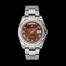 Rolex Men's White Gold Day-Date - President Havanna Brown Roman Diamond Dial - 18K Fluted Bezel - Oyster Bracelet 36 MM 118239