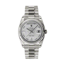 Rolex Men's White Gold Day-Date - President Meteorite Arabic Diamond Dial - 18K Fluted Bezel - Presidential Bracelet 36 MM 118239