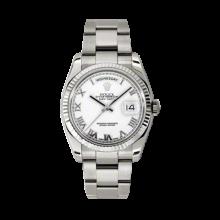 Rolex Men's White Gold Day-Date - President White Roman Dial - 18K Fluted Bezel - Oyster Bracelet 36 MM 118239
