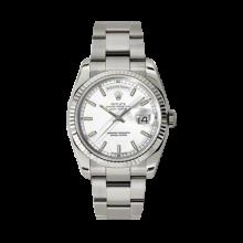 Rolex Men's White Gold Day-Date - President White Index Dial - 18K Fluted Bezel - Oyster Bracelet 36 MM 118239